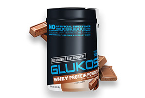 GLUKOS  Chocolate Protein Powder Canister - 14 Servings