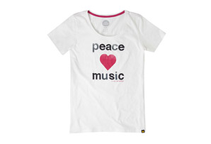 Life is Good Short Sleeve Peace Love Music Creamy Scoop Tee - Women's