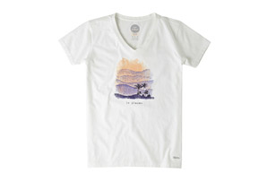 Life is Good S/S Engraved Go Places Island Crusher Vee - Women's