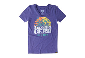 Life is Good Short Sleeve Love Is  A Verb Cool Vee - Women's