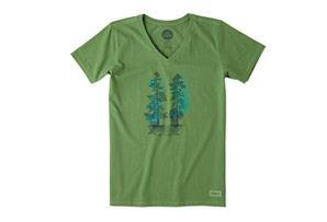 Life is Good Come Together Trees Crusher Vee Shirt - Women's