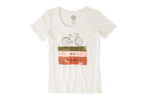 Life is Good Go Places Bike Stripes Sunny Scoop Tee - Women's
