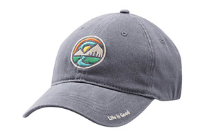Life is Good Mountain Circle Sueded Stretch Cap