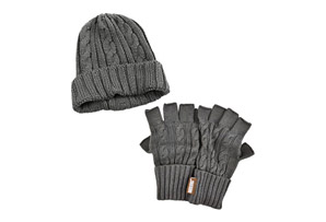 Muk Luks Cable Knit Cuff Cap with Fingerless Glove Set - Men's