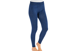 Fleece-Lined Faux Denim Leggings - Women's