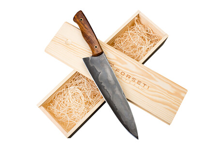 "Kodiak 8"" San Mai Steel Chef Knife with Wood Handle"