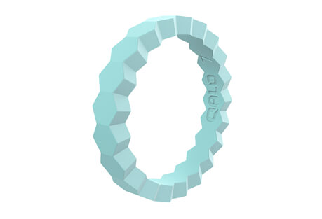 Stackable Aquamarine Chevron Silicone Ring - Women's